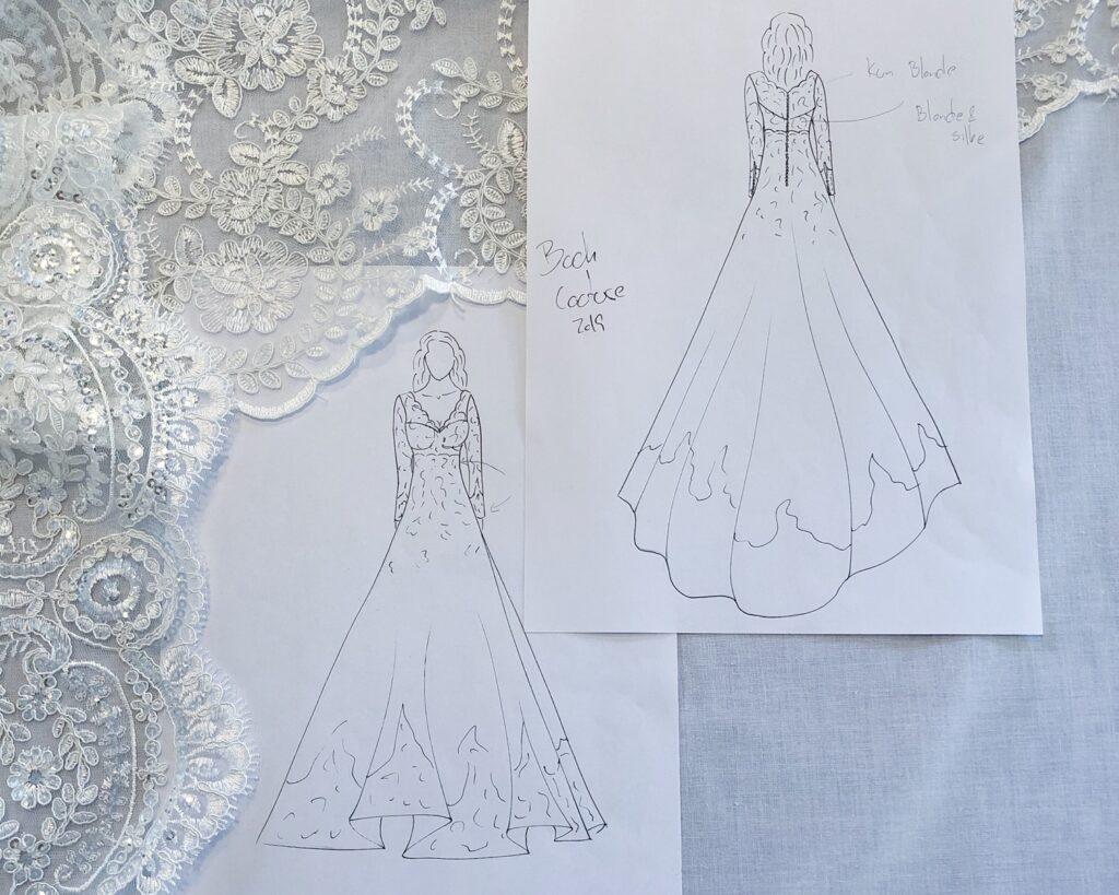 Line Hoffmeyer - design af brudekjole tegning