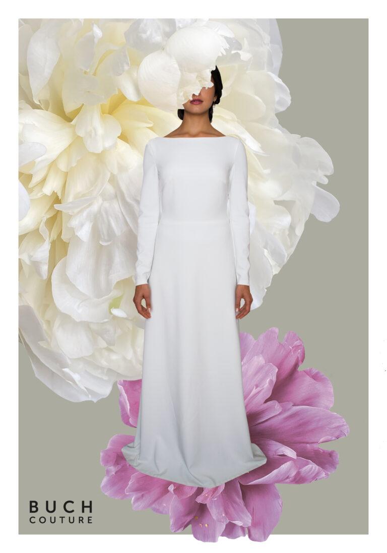 Smuk enkel og minimalistisk brudekjole med bådudskæring og lange ærmer med betrukne knapper