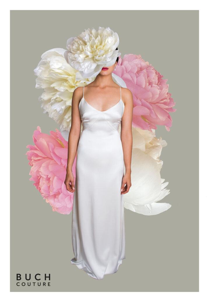 smuk og minimalistisk brudekjole i 100% silkesatin med tynde stropper og v-udskæring