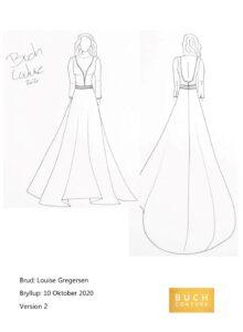 Tegning af Olisepigens brudekjole