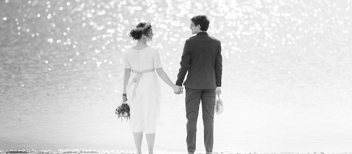 Elegant kort brudekjole fra Buch Couture